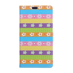 PU Leather Wallet Cover for Microsoft Lumia 640 Dual Sim / 640 LTE - Colorful Stripes Flowers