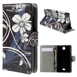 White Daisy Stand Wallet Leather Case for Microsoft Lumia 430 Dual SIM