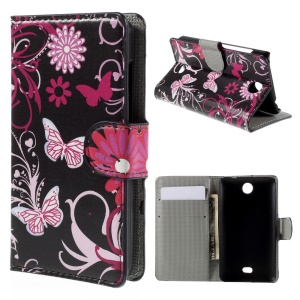 Butterflies and Flowers Stand Wallet Leather Shell for Microsoft Lumia 430 Dual SIM