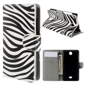 Zebra Stripes Flip Wallet PU Leather Case for Microsoft Lumia 430 Dual SIM