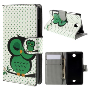 Green Napping Owl Wallet PU Leather Cover for Microsoft Lumia 430 Dual SIM