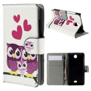 Sweet Owl Family Wallet PU Leather Shell for Microsoft Lumia 430 Dual SIM