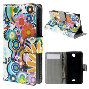 Colorized Flowers Wallet Leather Phone Case for Microsoft Lumia 430 Dual SIM