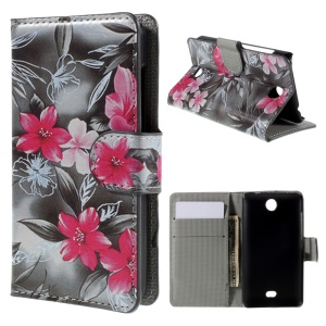 Red Flower Magnetic Wallet Leather Phone Cover for Microsoft Lumia 430 Dual SIM