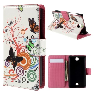 Butterflies and Circles Wallet Leatherette Case for Microsoft Lumia 430 Dual SIM