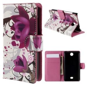 Kapok Flower Card Holder Stand Leatherette Cover for Microsoft Lumia 430 Dual SIM