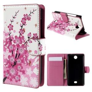 For Microsoft Lumia 430 Dual SIM Plum Blossom Card Holder Leatherette Shell