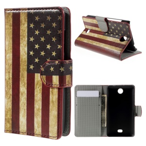 For Microsoft Lumia 430 Dual SIM Vintage US Flag Wallet Protective Leather Case