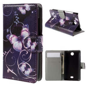 Purple Butterfly Flip Wallet Faux Leather Cover for Microsoft Lumia 430 Dual SIM