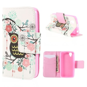 Owl Flowers Leather Case for Wiko GOA with Card Slots