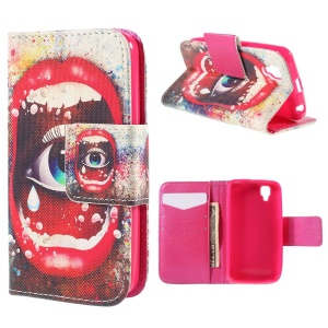 Sexy Lip and Eye Wallet Stand Leather Case for Wiko GOA