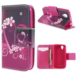 Heart Flowers Flip Leather Case for Wiko GOA with Card Holder