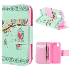 Branch and Cage Wallet Stand Leather Case for Wiko GOA