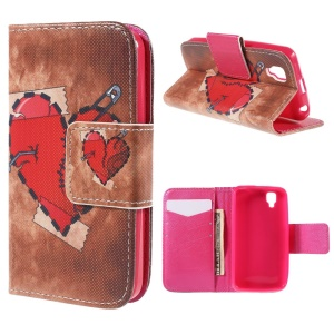 Red Heart Wallet Stand Leather Cover Case for Wiko GOA