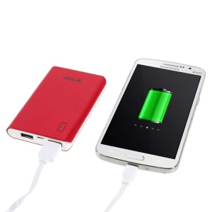 Origore 6000mAh Dual-USB Mini Portable External Power Pack Charger - Red