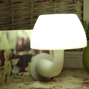 Mushroom Design Sound Control Light-operated LED Night Lamp Bedroom Lighting - White
