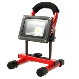 Portable Rechargeable 10W LED Floodlight Emergency Lamp Cool White Light 6600mAh Waterproof IP65 - Red