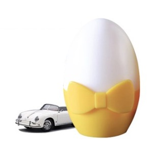 Bowknot Egg Design Light-operated 0.3W LED Night Lamp Bedroom Lighting AC 110-220V - White / Yellow