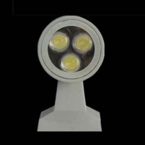 3W 3-LED 265Lumens Alluminum Single End Wall Lamp Silver Shell - Warm White