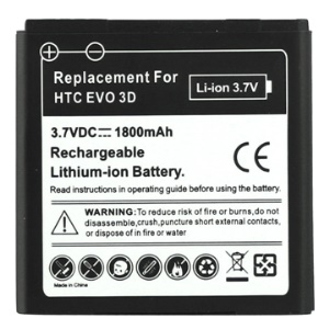 1800mAh Rechargeable Li-ion Cell Phone Battery Replacement for HTC EVO 3D