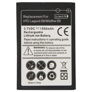 1500mAh Rechargeable Lithium-ion Battery for HTC Wildfire G8/HTC Legand G6