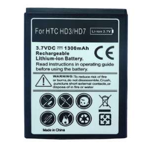 1300mAh Cell Phone Battery Replacement for HTC Wildfire S &amp; HTC HD7 (HTC HD3)