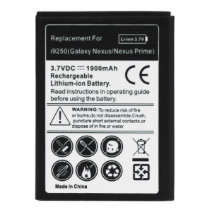 For Samsung Galaxy Nexus GT-i9250 Battery Replacement 1900mAh (Model: EB-L1F2HBU)