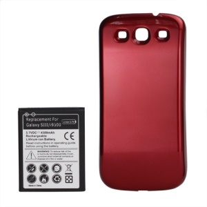 Samsung i9300 Galaxy S iii Extended Battery with Battery Door Cover 4300mAh - Red