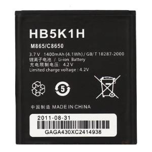 1400mAh HB5K1H Battery Replacement for Huawei Ascend II 2 M865 Sonic U8650 C8650