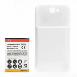 For Samsung Galaxy Note ii N7100 Extended Battery with Battery Door Cover 6500mAh;White
