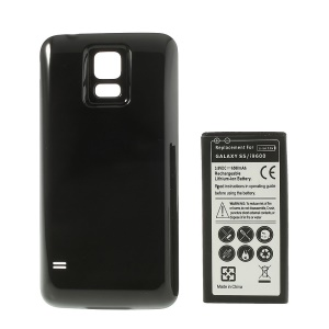 6500mAh Extended Li-ion Battery + Housing Back Cover for Samsung Galaxy S5 G900 - Black