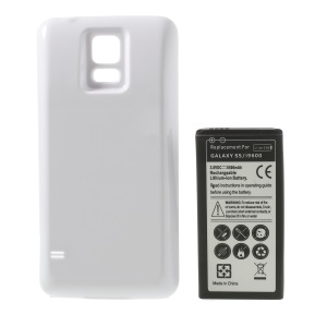 6500mAh Extended Li-ion Battery + Back Housing Cover for Samsung Galaxy S5 G900 - White