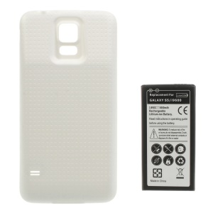 6500mAh Extended Li-ion Battery + Concave Dots Housing Back Case for Samsung Galaxy S5 G900 - White