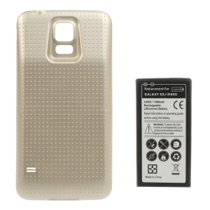 6500mAh Extended Li-ion Battery + Concave Dots Housing Back Cover for Samsung Galaxy S5 G900 - Champagne