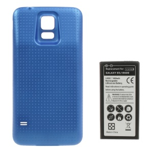 6500mAh Extended Li-ion Battery + Concave Dots Rear Housing Cover for Samsung Galaxy S5 G900 - Blue