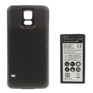 6500mAh Extended Li-ion Battery + Concave Dots Housing Rear Cover for Samsung Galaxy S5 G900 - Coffee