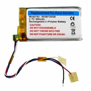 Replacement Li-polymer Battery for Microsoft Zune 2nd Gen 80/120GB