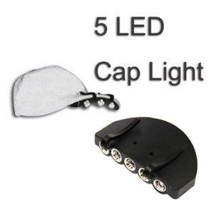 Clip-on 5 LEDs Hat Cap Visor Light Headlamp for Fishing Hunting