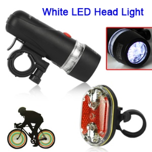 Waterproof White LED Bike Bicycle Head Light + Red Rear Safety Flashlight