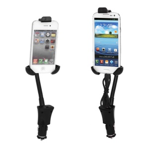 Universal Flexible Car Mount + USB Charger for iPhone iPod Samsung HTC BlackBerry Nokia Motorola LG Sony Smartphone