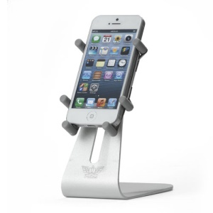 Rotary Aluminum Desktop Holder Stand for iPhone 5 4S 4 iPod Touch 5 etc - Silver