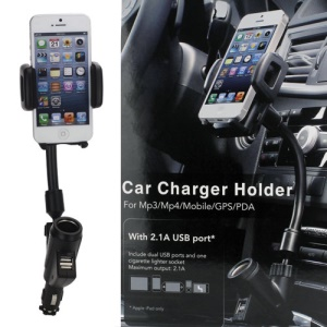 Universal Dual USB Car Charger Cradle Mount Holder for iPhone 5 4S Samsung i9300 Galaxy S3