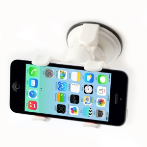 White Car Suction Cup Universal Mount Holder for iPhone 5s 5c 5 4s 4 iPod Samsung Sony GPS