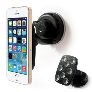 360 Degree Rotary Suction Cup Car Mount Holder for Mobile Phones Tablet PC GPS - Black