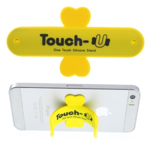 Universal Portable Touch U One Touch Silicone Stand for iPhone Samsung HTC Sony Mobile Phones Tablets - Yellow
