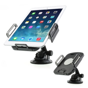 Grey Universal 360 Degree Rotating Tablet PC Car Holder, width: 96mm-187mm