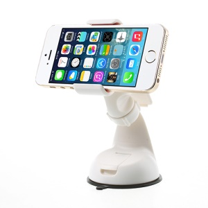 White Universal Car Clamp Mount Holder for iPhone Samsung Sony LG Smartphones GPS PDA, Width: 11cm