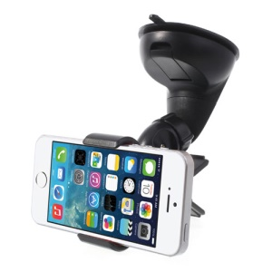 Black Universal Car Clamp Mount Holder for iPhone Samsung Sony LG Smartphones GPS PDA, Width: 11cm