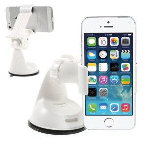 White Universal 360 Rotation Clip Car Suction Cup Mount Holder for iPhone Samsung Sony LG / GPS / PDA Etc