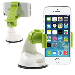 Green 360 Rotation Universal Clip Car Suction Cup Mount Holder for iPhone Samsung Sony LG / GPS / PDA Etc